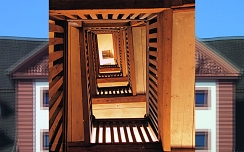 Alte Holztreppe im Rathaus - Harzkornmagazin © Copyright Osterode am Harz